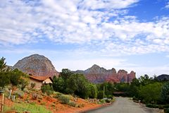 Quiet street in Sedona Stock Images
