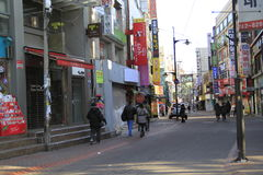 Quiet street in Seoul Korea Royalty Free Stock Images