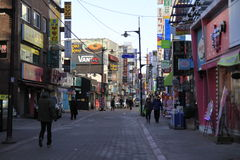 Quiet street in Seoul Korea Royalty Free Stock Photography