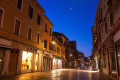Quiet street in Venice, Italy, at night stock images