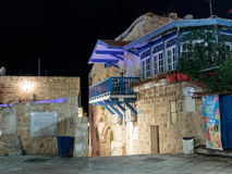 Quiet streets of the old town of Yafo at night. Lane sign of the zodiac Libra in old city Yafo, Israel. Tel Aviv -Yafo, Israel, July 08, 2016: Quiet streets of Royalty Free Stock Photo