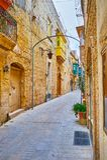 The quiet streets of Rabat, Malta. Enjoy the medieval atmsphere of the city, walking the quiet stone streets of Rabat, Malta stock photos