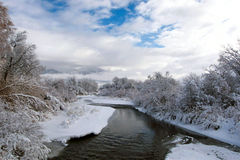 A Quiet Stretch. Of the East Gallatin River on a crisp winter's morning Royalty Free Stock Image