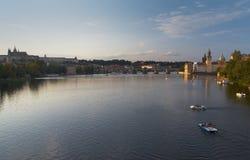 Quiet summer evening on Vltava River Royalty Free Stock Photography