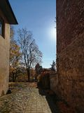 Quiet sunny autumn day at the street of Cesis town, Latvia stock images