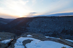 Quiet sunset at Blackwater Falls Park in winter, West Virginia, USA. Royalty Free Stock Images