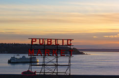 Quiet sunset over Puget Sound in Seattle, USA. Stock Photography