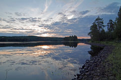 Quiet sunset on the river. Stock Images