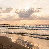 Quiet sunset on the sea. Beach of Tel Baruch, Tel Aviv, Israel. Seaside landscape royalty free stock photography