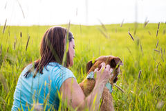 Quiet time outdoors with dog Stock Images