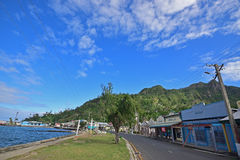 Quiet tranquil Beach Street at seaside town Levuka, Fiji Stock Images