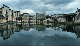 Quiet village named Hong Cun with its famous central lake, Chinese ancient. A village named Hong, at Yellow Mountain city of Anhui Province,a village on a Stock Photography