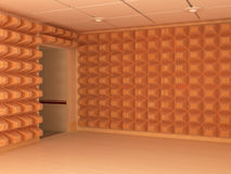 Quiet Walls. Room interior 3d, soundproof walls and entrance, horizontal royalty free illustration