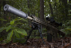 Quiet weapon. Modern sporting rifle with a silencer in a bunch of trees Stock Photo