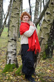 The quiet woman of average years in a red stole costs among birches in the wood.  Royalty Free Stock Images