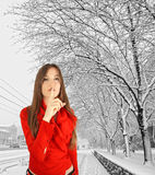 Quiet woman in Winter Royalty Free Stock Photos