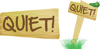 Quiet wooden countryside style sign Royalty Free Stock Photos