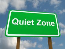 Quiet zone sign. Green quiet zone sign with blue sky and cloudscape background Royalty Free Stock Photos