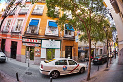 Quietest central street  in Madrid Stock Photos