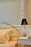 Quietly and elegant bedroom detail. In lighting color and fine decoration style, mostly for female, shown as quiet and easy life Stock Photography