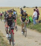Andreas Schillinger Riding on a Cobblestone Road - Tour de Franc Royalty Free Stock Photography