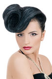 Quiff. Portrait of beautiful girl with elegant coiffure quiff in black dress on white Royalty Free Stock Photography