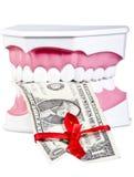 Quijada humana con un dólar Fotografía de archivo libre de regalías
