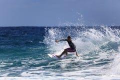 Quiksilver que practica surf y Roxy Pro World Title Event Fotografía de archivo