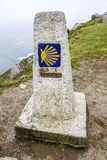 0 quilômetros na rota ao Santiago, lidam de Finisterre, La Coruna Fotos de Stock Royalty Free