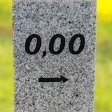 Quilômetros no início da rua com 0,00 Foto de Stock Royalty Free