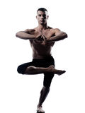 Équilibre Vriksha-asana de yoga d'homme la pose d'arbre Photos libres de droits