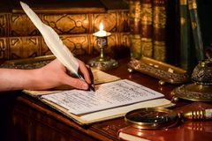 Quill calligraphy in a Georgian period setting stock photo