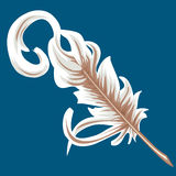 Quill feather. Illustration of an old fashioned quill pen or feather royalty free illustration