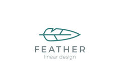 Quill Feather Pen Logo design vector Linear style Royalty Free Stock Photo
