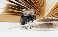 Quill and inkwell Stock Image