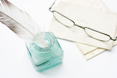 Quill, Letters & Glasses Royalty Free Stock Photos