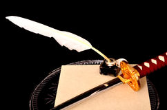 Quill Parchment Sword Royalty-vrije Stock Foto