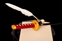 Quill Parchment Sword Stock Afbeelding