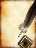 Quill pen. And vintage paper, copyspace on the left. Digital illustration Stock Photo