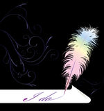 Quill pen. Writing on roll of paper royalty free illustration