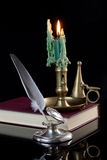 Quill Pen and Candle Stock Photo