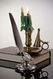 Quill Pen and Candlestick Royalty Free Stock Photo
