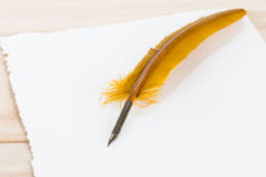Quill Pen on cotton paper Royalty Free Stock Image
