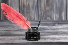 Quill Pen. Feather Pen Writing Ink Ink Well Christmas Stock Image