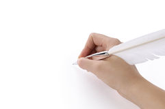 Quill pen in a hand Royalty Free Stock Image