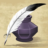Quill pen. Illustration with quill pen and ink pot drawn in retro style stock illustration