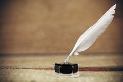Quill Pen. Ink Feather Pen Scribe Writing White Royalty Free Stock Photo