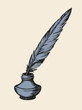 Quill pen in inkpot. Vector sketch Royalty Free Stock Images