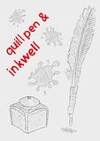Quill pen and inkwell Stock Images