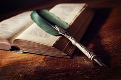 Quill pen on an old book Royalty Free Stock Photography